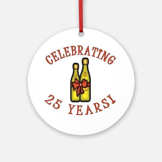 25th Anniversary Wine Bow Ornament (Round)