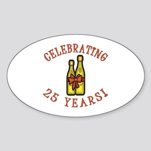 25th Anniversary Wine Bow Sticker (Oval)