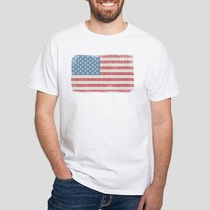 Vintage American Flag White T-Shirt