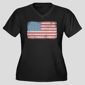 Vintage American Flag Women's Plus Size V-Neck Dar