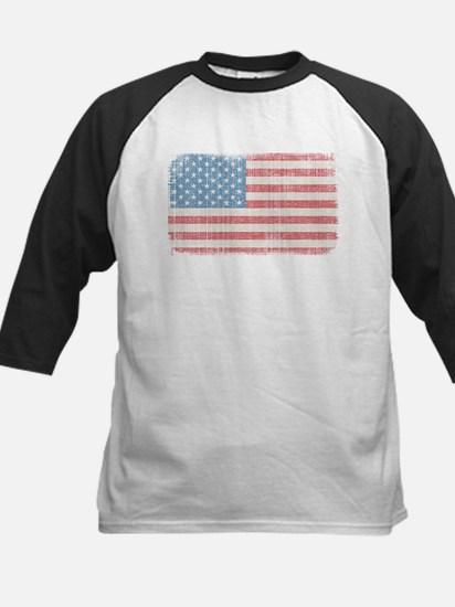 Vintage American Flag Kids Baseball Jersey