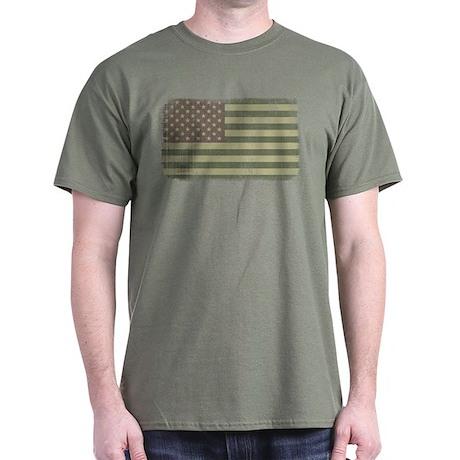 Camo American Flag [Vintage] Dark T-Shirt