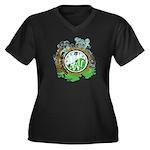 Post Time Women's Plus Size V-Neck Dark T-Shirt