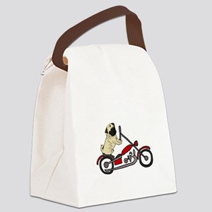 Pug Dog Riding Motorcycle Canvas Lunch Bag