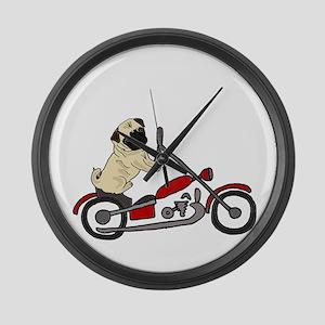 Pug Dog Riding Motorcycle Large Wall Clock
