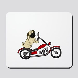 Pug Dog Riding Motorcycle Mousepad
