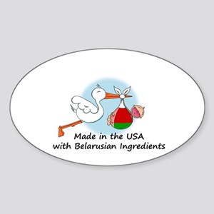 Stork Baby Belarus USA Sticker (Oval)