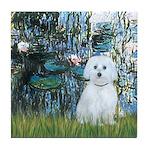 Lilies #1 - Maltese (B) Tile Coaster