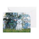 Lilies #1 - Maltese (B) Greeting Cards (Pk of 10)