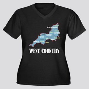 West Country Map Women's Plus Size V-Neck Dark T-S