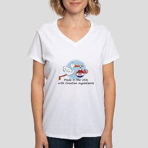 Stork Baby Croatia USA Women's V-Neck T-Shirt