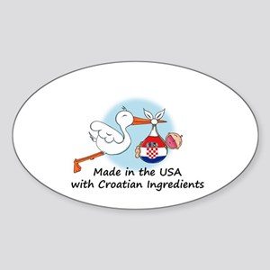 Stork Baby Croatia USA Sticker (Oval)