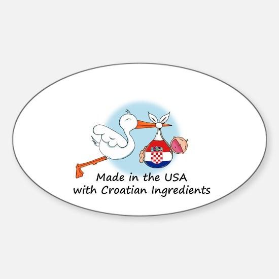Stork Baby Croatia USA Sticker (Oval)