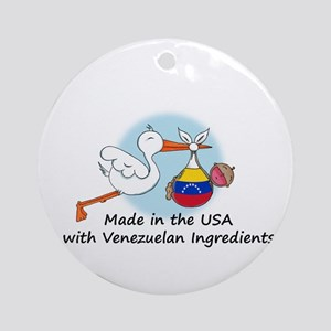 Stork Baby Venezuela USA Ornament (Round)