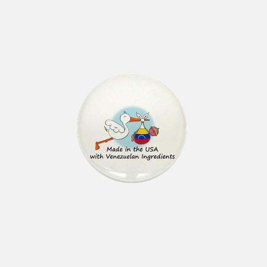 Stork Baby Venezuela USA Mini Button