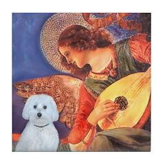 Mandolin Angel - Maltese (B) Tile Coaster
