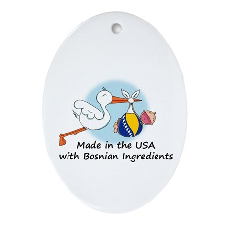 Stork Baby Bosnia USA Ornament (Oval)