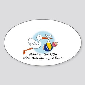 Stork Baby Bosnia USA Sticker (Oval)