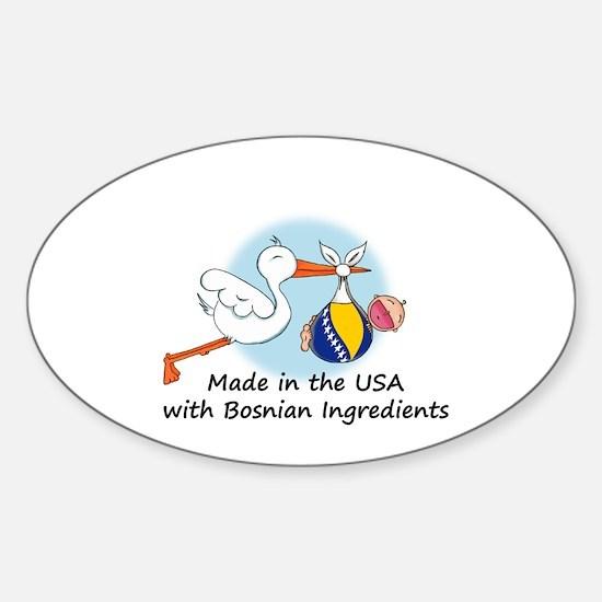 Stork Baby Bosnia USA Sticker (Oval)