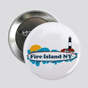 "Fire Island NY - Surf Design 2.25"" Button"