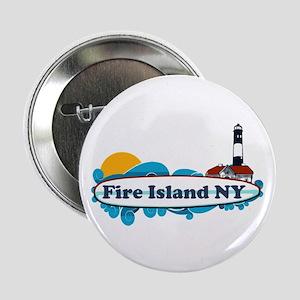 "Fire Island NY - Surf Design 2.25"" Button"