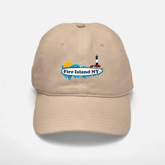 Fire Island NY - Surf Design Baseball Baseball Cap