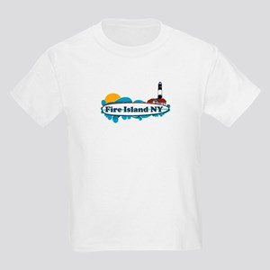 Fire Island NY - Surf Design Kids Light T-Shirt