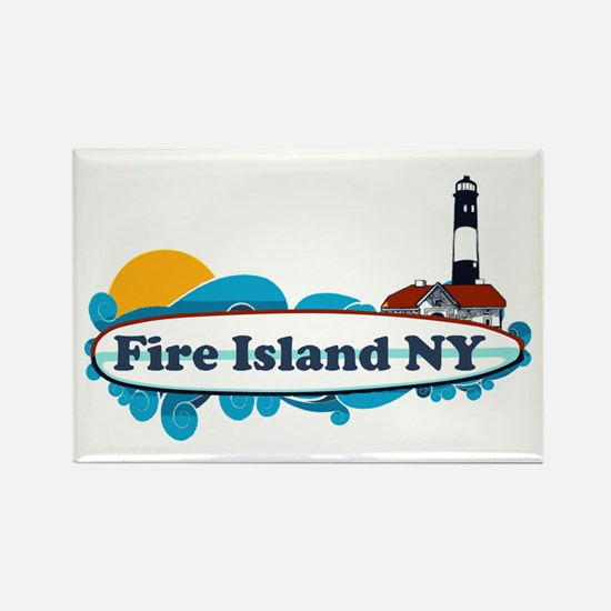 Fire Island NY - Surf Design Rectangle Magnet