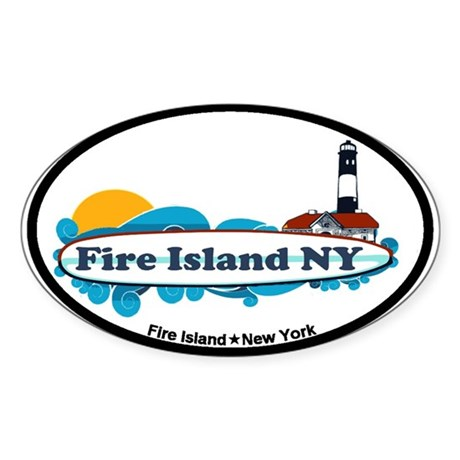 Fire Island NY - Surf Design Sticker (Oval)