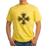 Elegant Iron Cross Yellow T-Shirt