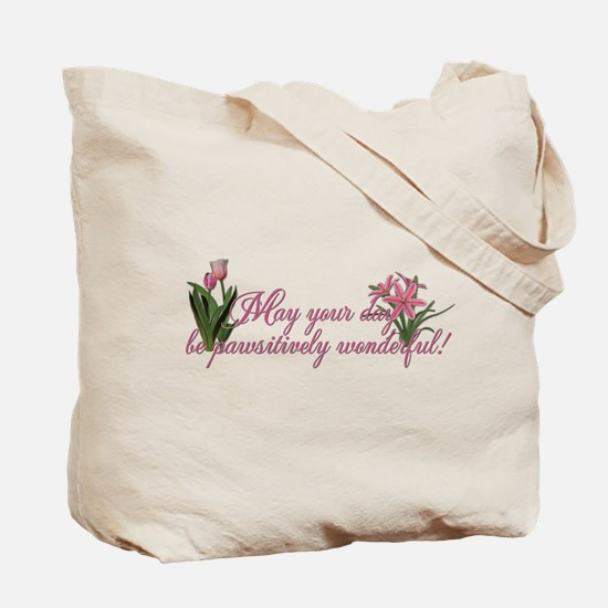 Pink Tulips Chocolate Labrador Tote Bag