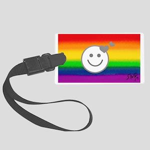 HAPPY HEARTS RAINBOW gay art Large Luggage Tag