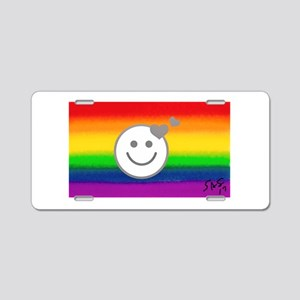 HAPPY HEARTS RAINBOW gay ar Aluminum License Plate