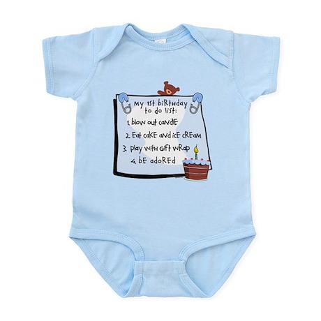 1st Birthday To Do's Blue Infant Bodysuit
