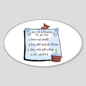 1st Birthday To Do's Blue Sticker (Oval)