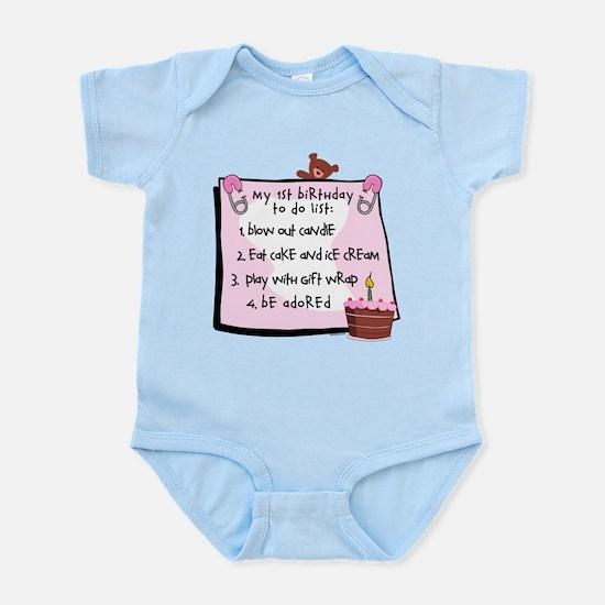 1st Birthday To Do's Pink Infant Bodysuit