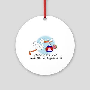 Stork Baby Cambodia USA Ornament (Round)
