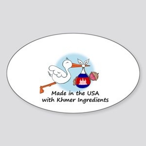 Stork Baby Cambodia USA Sticker (Oval)