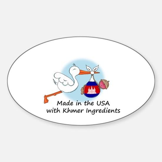 Stork Baby Cambodia USA Sticker (Oval)