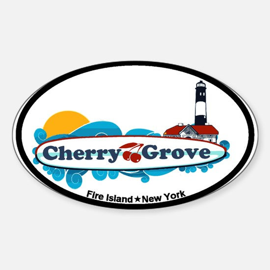Cherry Grove - Fire Island Sticker (Oval)