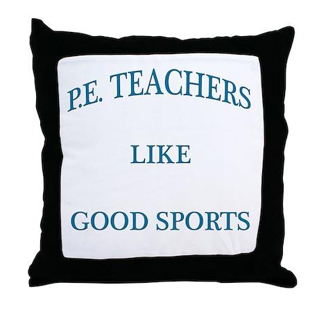 P.E. Teachers Sports Blue Letters Throw Pillow