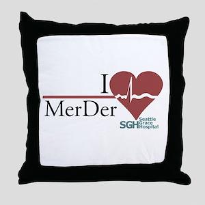 I Heart MerDer - Grey's Anatomy Throw Pillow