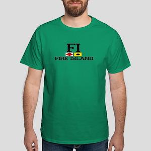 Fire Island - Nautical Design Dark T-Shirt