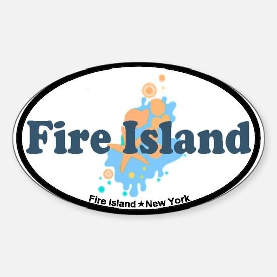Fire Island - Seashells Design Sticker (Oval)
