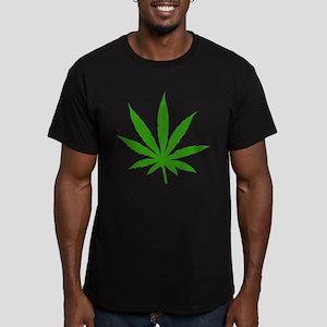 Marijuana Leaf Men's Fitted T-Shirt (dark)