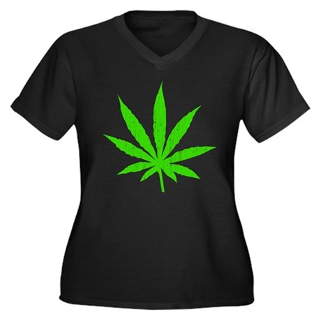 Marijuana Leaf Women's Plus Size V-Neck Dark T-Shi