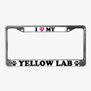 I Heart My Yellow Lab License Plate Frame
