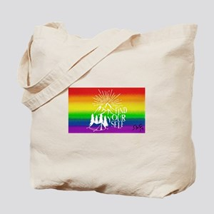 FIND YOUR SELF camping gay rainbow art Tote Bag