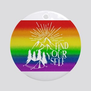 FIND YOUR SELF camping gay rainbow Round Ornament