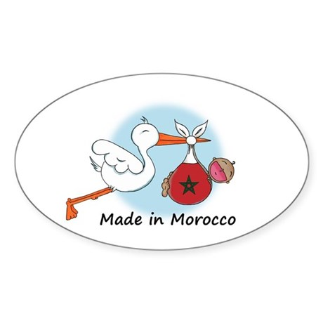 Stork Baby Morocco Sticker (Oval)